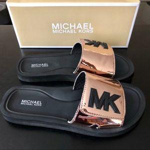 5073325c397c Michael Kors Shoes - Girls Michael Kors Eli Slides Rose Gold Sz 4
